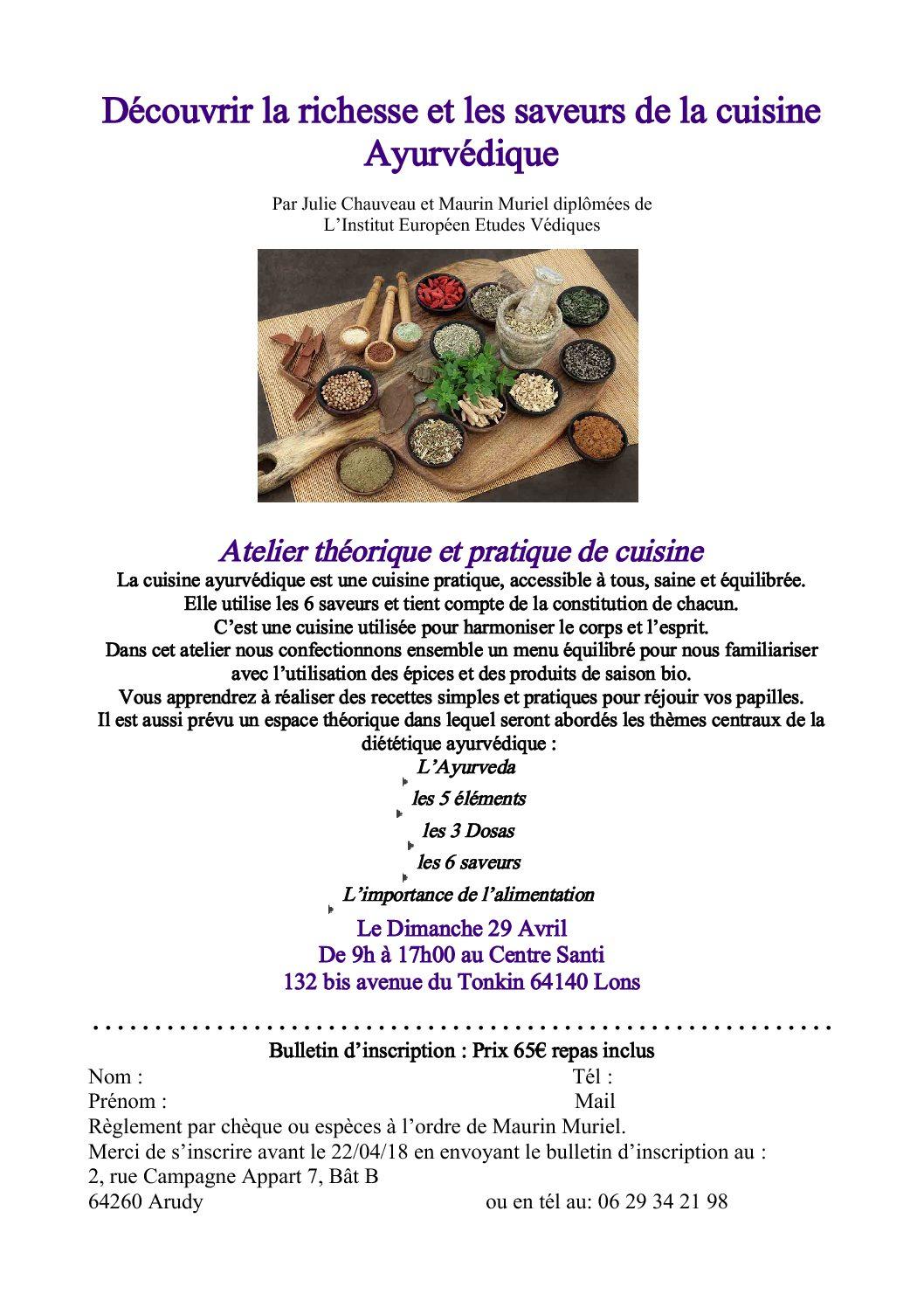 Atelier théorique et pratique de cuisine Ayurvédique